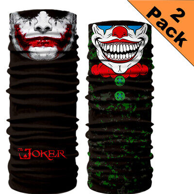 2x Halloween Joker Skull Face Mask - UV Sun Mask Dust Wind Neck Gaiter Half Mask