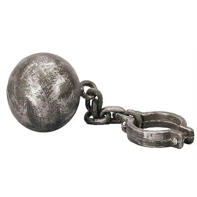 Ball And Chain Prop (Jumbo Plastic Ball and Chain with a Rusted Look Prop)