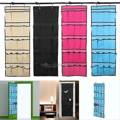 20 Pocket Over the Door Shoe Organizer Space Saver Rack Hanging Storage Hanger