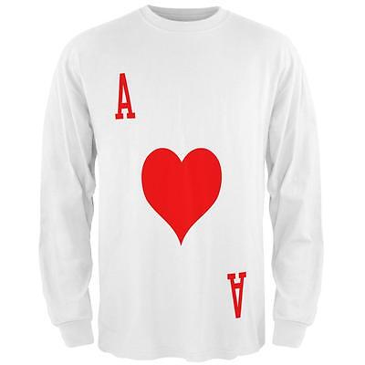 Halloween Ace of Hearts Card Soldier Costume All Over Mens Long Sleeve T Shirt - Ace Of Hearts Costume