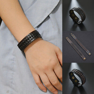 Trendy Men Wide Faux Leather Buttons Braided Bracelet Wristband Jewelry Gift New