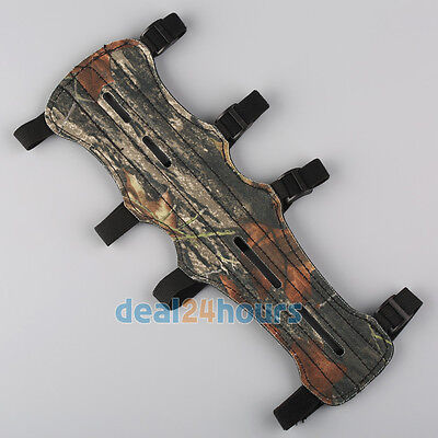 Camouflage 4 Straps Leather Shooting Hunting Archery Arm Guard Protection