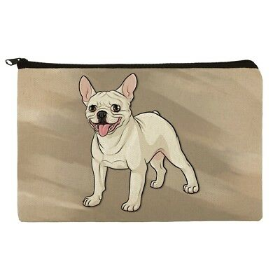 French Bulldog Smiling Pet Dog Makeup Cosmetic Bag Organizer Pouch