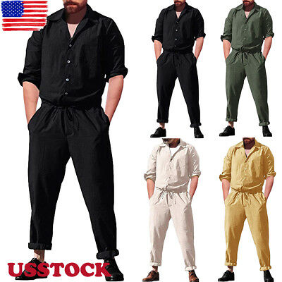 Mens Short Sleeve Rompers Playsuit Jumpsuit Overalls One Piece Workwear Pants ()