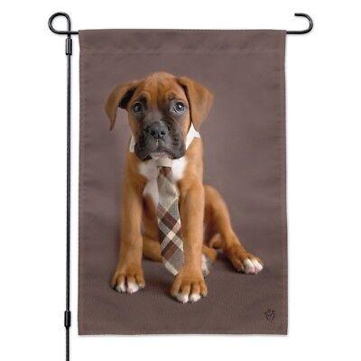 Boxer Puppy Dog Sitting with Tie Garden Yard Flag - Boxer Garden Flag