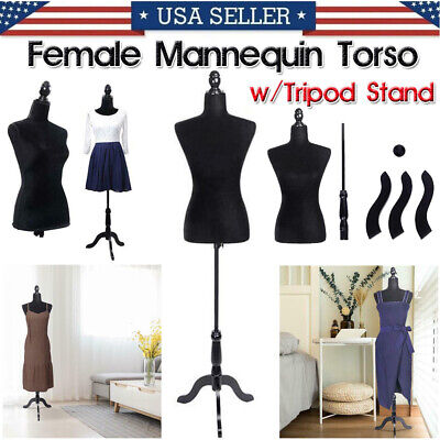 Commercial Female Mannequin Torso Wtripod Stand Dress Clothing Form Display Us