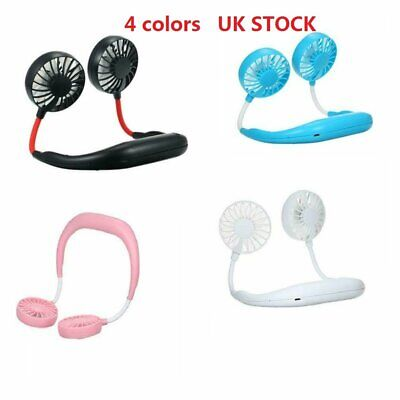 Portable Micro Rechargeable Mini Neckband Lazy Neck Hanging Style Fan Cool NEW