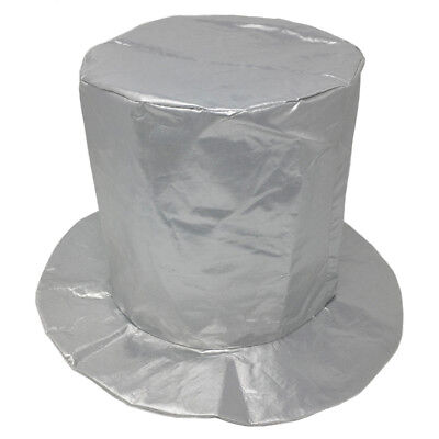 Adult Shiny Silver Top Hat ~ FUN HALLOWEEN, COSTUME, NEW YEAR'S, BIRTHDAY, PARTY](New Years Top Hats)