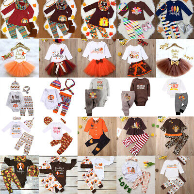 Thanksgiving Kid Baby Girl Clothes Tops Pants Skirt Dress Party Turkey Outfit