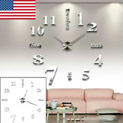 Large Wall Clock Modern 3D Acrylic Mirror Sticker Big Number Watch DIY Decor NEW