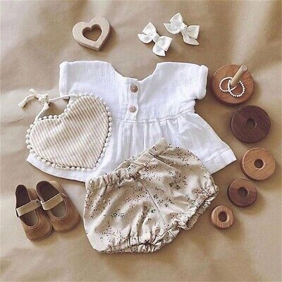 US Newborn Baby Girl Cotton Linen Outfit Shirt Tops+PP Floral Shorts Sunsuit