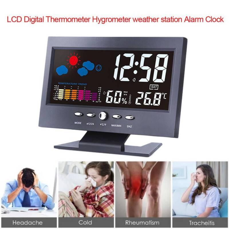 Digital LCD Alarm Clock Indoor/Outdoor Thermometer Hygrometer Temperature Meter