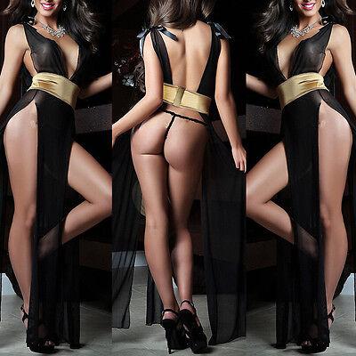 Damen Sexy Reizwäsche Dessous Lang Kleid Babydoll Negligee Nachtwäsche mit Gürte - Langes Kleid Mit Sexy Dessous