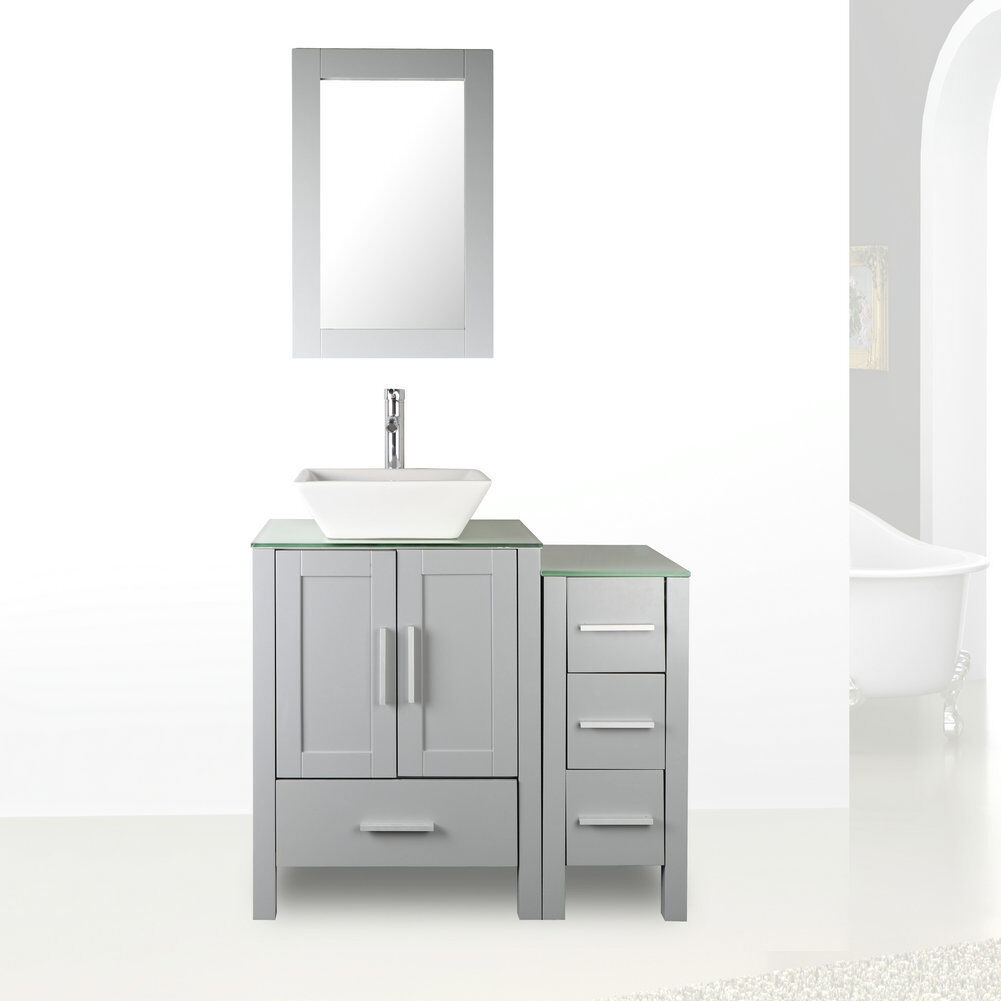 Details About 36 Bathroom Vanity Cabinet Gl Top Mdf Wood Grey Paint W Mirror Faucet Set