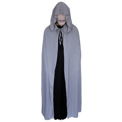 Gray Cloak with Large Hood ~ HALLOWEEN WIZARD MEDIEVAL RENAISSANCE COSTUME - Costumes With Cloaks