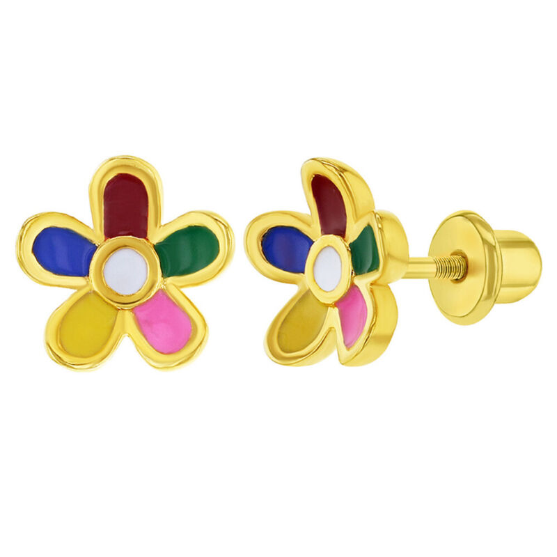 Gold Plated Multicolor Enamel Flower Screw Back Earrings for Toddler Girls 8mm