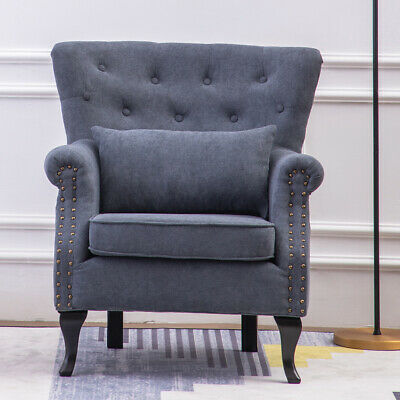 Vintage Chenille Accent Button Wing Back Occasional Armchair Chesterfield Chair