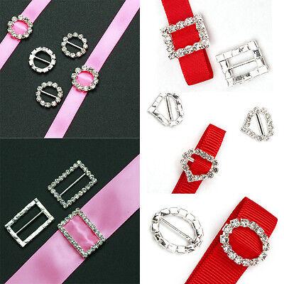 10x Crystal Rhinestone Buckle Invitation Ribbon Slider For Wedding Supplies DIY - Wedding Invitations Diy