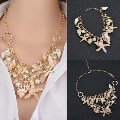 Starfish Sea Shell Necklace Faux Pearl Gold Chunky Statement Bib Seashell Flower ()