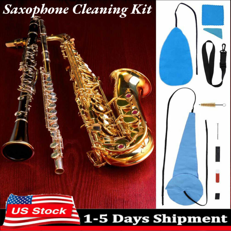 Saxophone Cleaning Care Kit Set 10-in-1 Alto Sax Maintenance Cleaning Cloth NEW
