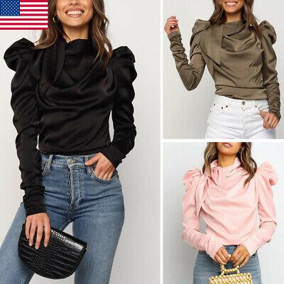NEW Fashion Women Satin Blouses Bow Neck Long Sleeve Elegant Blouse Shirt (Satin Long Sleeve)