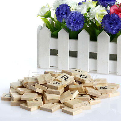 100 New Wooden Alphabet Scrabble Tiles Black Letters & Numbers For Crafts Wood (Alphabet Tiles)