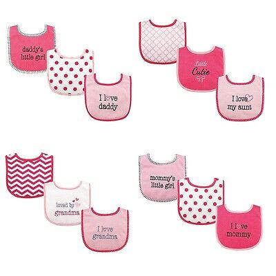 "LUVABLE FRIENDS BABY GIRLS 3 PACK  DROOLER BIBS "" I LOVE "" FIBER FILLED"
