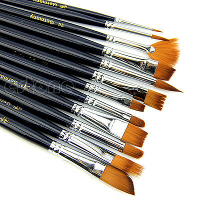 - 12X Artist Paint Brush Set Nylon Hair Watercolor Acrylic Oil Painting Supplies