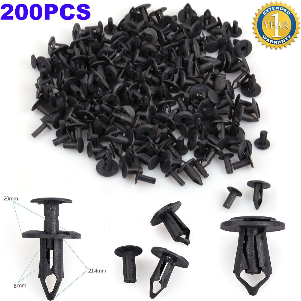 Car Parts - 200Pcs 8mm Hole Plastic Rivets Fastener Push Clips Clip for Car Auto Fender