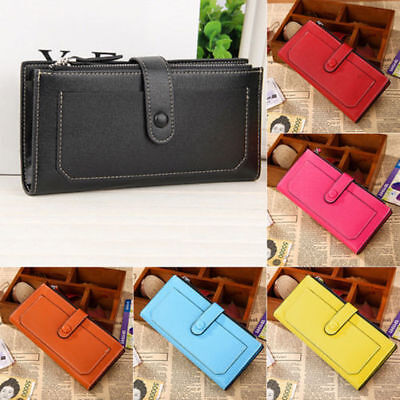 Womens Leather Wallet Card Holder Double Dark Buckle zipper Large Capacity (Double Zipper Purse)