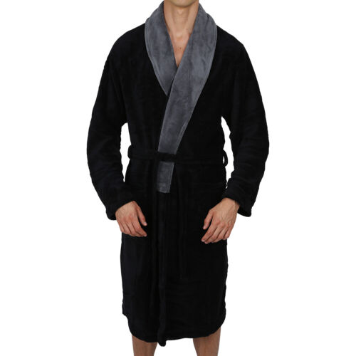 Mens-ROBE -Bathrobe- Shawl Collar - Coral Fleece - SUPER SOFT Heavy Weight USA