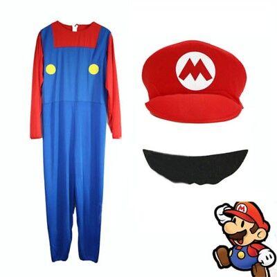Neu Mens Adult Super Mario und Luigi Bros Kostüm Klempner Weihnachten Halloween