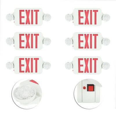 6 Pack Emergency Lights Red Exit Sign Wdual Led Lamps Abs Led Supermarkets