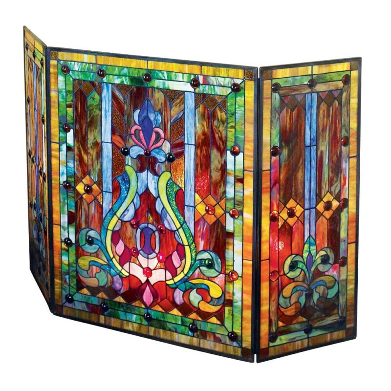 """Tiffany Style Stained Glass Fleur de Lis Fireplace Screen, 44""""W x 28""""H"""