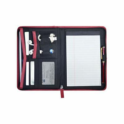 Padfolio Leather Business Portfolio Zippered Notebook Binder Organizer Office