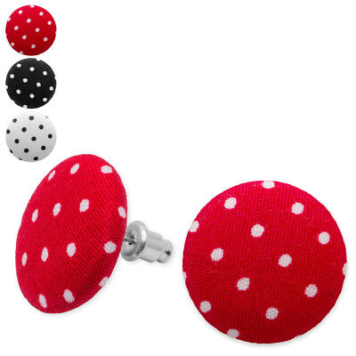 Ein Paar Stoffohrstecker mit Punkten Ohrringe Polka Dots rot weiß schwarz ()