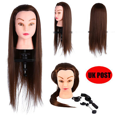 """26"""" 30% Real Hair Training Practice Head Hairdressing Mannequin Doll With Clamp"""