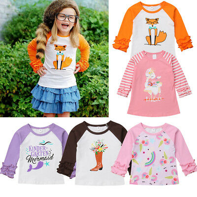 Unicorn Toddler Kids Baby Girls Casual Long Sleeve Cotton T-shirt Tops Blouse