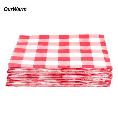 40x Plaid Disposable Paper Napkins Red Checkered Tableware Birthday Party Decor](Red Checkered Napkins)