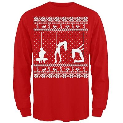Stripper T Shirts (Stripper Silhoutte Ugly Christmas Sweater Red Adult Long Sleeve)