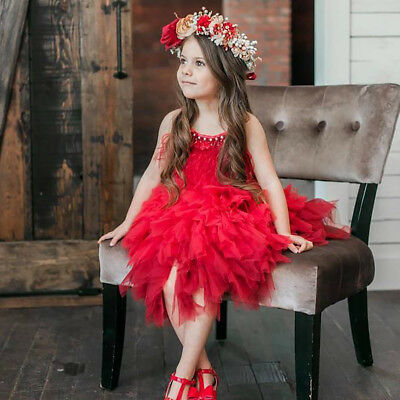Girls Swan Dance Ballet Costume Feather Tassel Ball Gown Wedding Birthday Dress