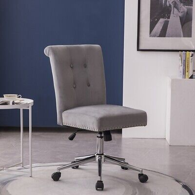 Velvet Home Office Chair Swivel Armless Mid Back Task Chairs W Pull Button Gray
