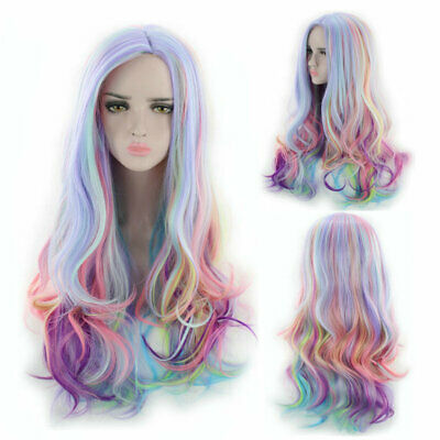 70cm Lady Long Curly Hair Rainbow Unicorn Gothic Lolita Drag Race Cosplay Wig - Gothic Wig