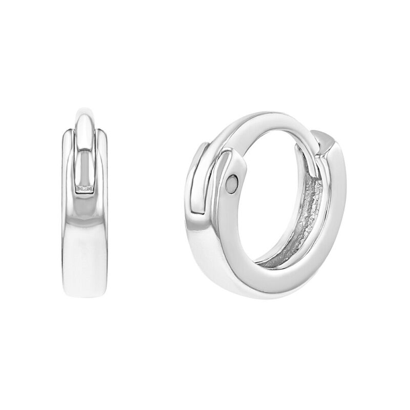 925 Sterling Silver 8mm Tiny Plain Huggie Earrings For Infants & Toddlers