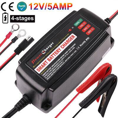 12V 5A AGM GEL SLA Trolling Motor Smart Battery Charger Maintainer Trickle