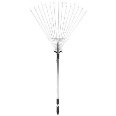 Garden Telescopic Rake Adjustable Folding Grass Leaves Rake Garden Cleaning T BH