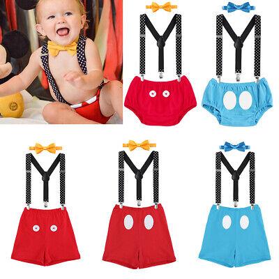 Baby Jungen 1. Geburtstag Party Fotoshooting Mickey Maus Kostüm Hosenträger Set