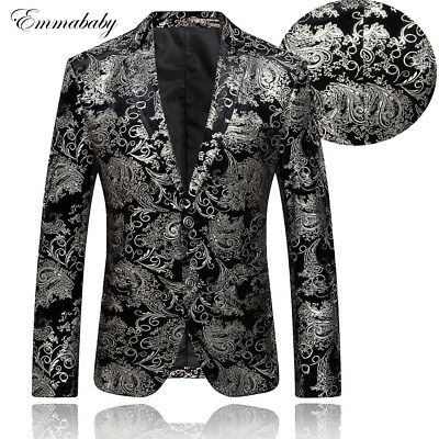 Mens Sequin Blazer (Luxury Men's Floral Sequin Blazer Outwear Slim Fit One Button Suit Coat)