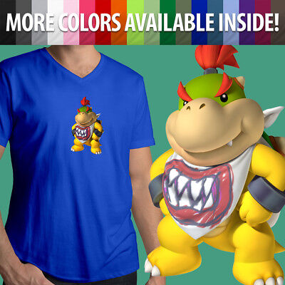 Nintendo Super Mario Bros Bowser Jr Koopa Villain Son Mens Tee V-Neck T-Shirt - Bowser Sons