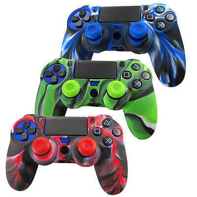 Cheap Silicone Grip Cover Skin+2 Joystick Caps For PS4 Controller PlayStation 4 ()